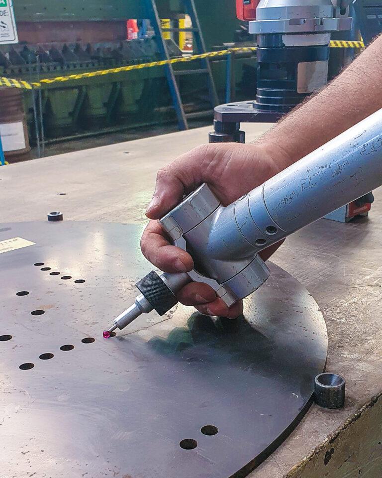 metrologia aço hardox detalhe